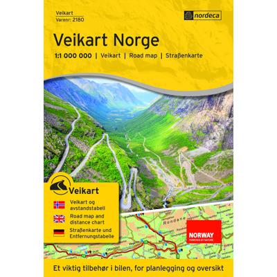 Veikart Norge 1:1 mill Veggkart