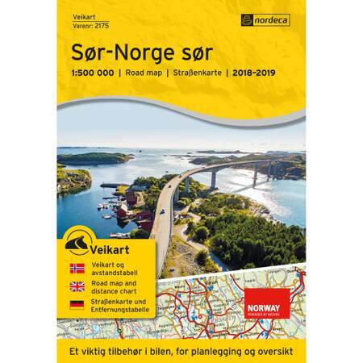 Veikart Sør-Norge Sør 1:500 000